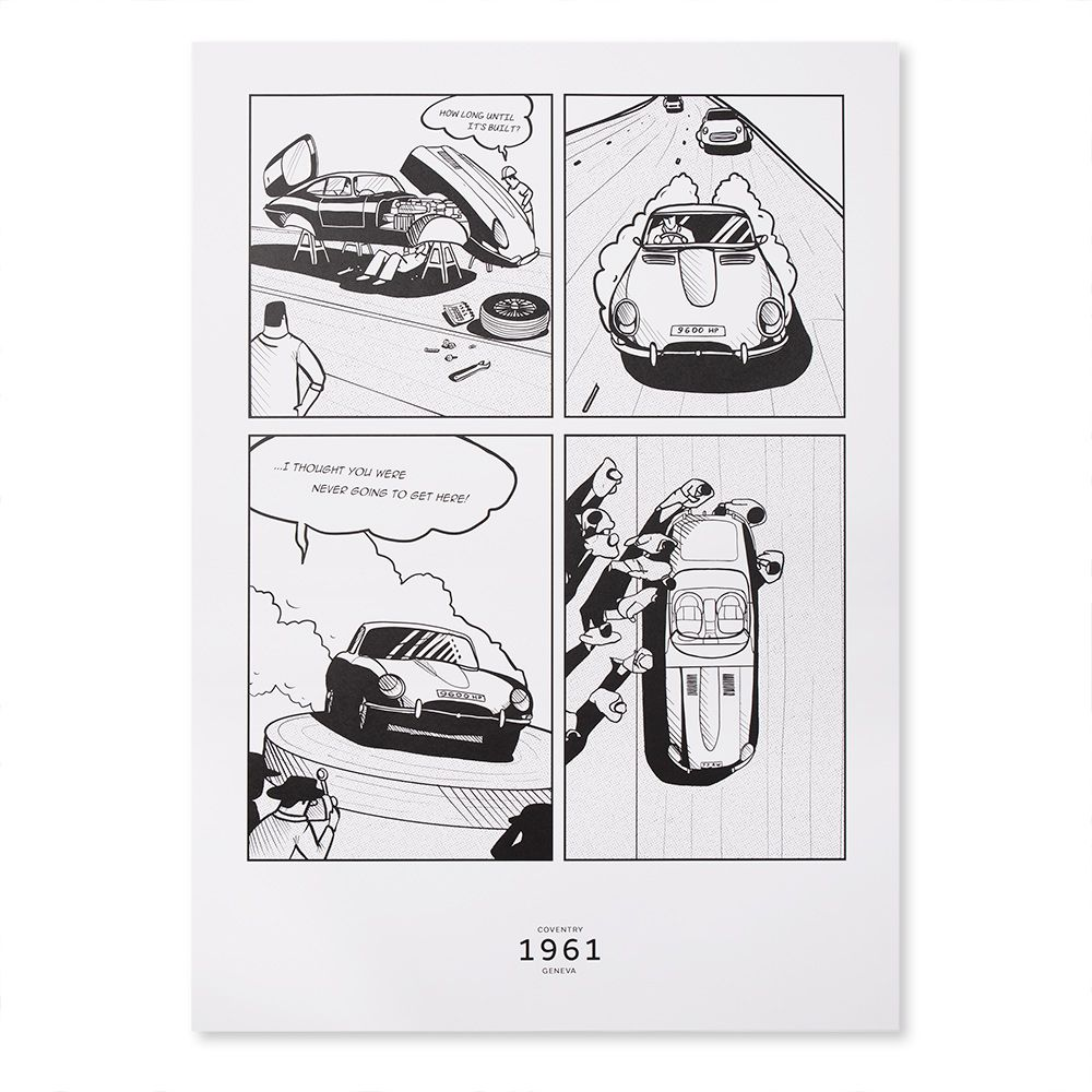 Limited Edition E-type Journey to Geneva '61 Sketch Artwork (700x500)